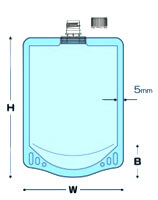 センターキャップ付透明スタンド袋 寸法