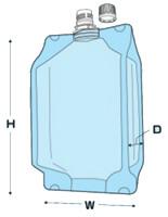 注ぎ口付透明ガゼット袋(センターキャップ) 寸法